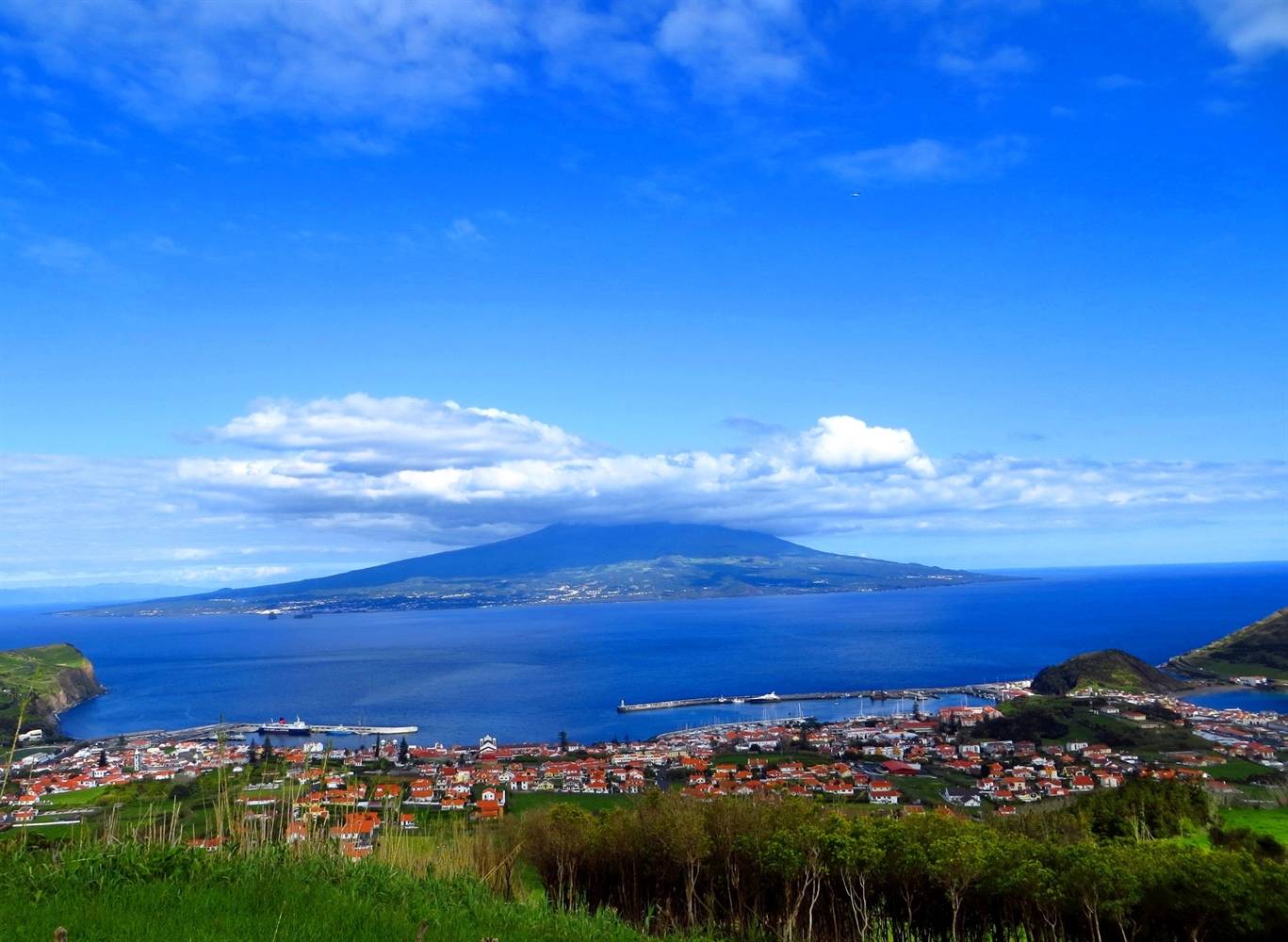 View over Horta to Pico Island