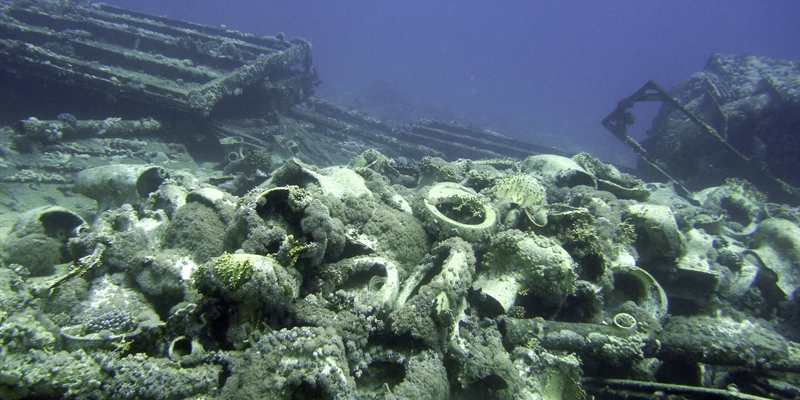 Collection of toilot bowls from shipwreck