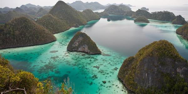 Aerial View Of Amazing Rock Islands In Raja Ampat