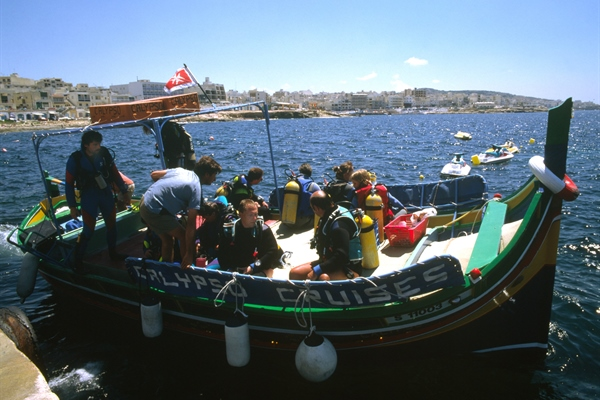 Divers on boat